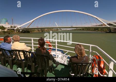Barqueta bridge, Alamillo bridge and Guadalquivir river cruise, Seville, Region of Andalusia, Spain, Europe - Stock Photo
