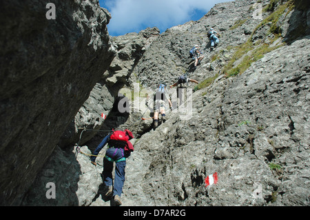 Shot up a near vertical rock face in the Dolomites with 5 adults climbing clipped onto the via ferrata steel safety - Stock Photo