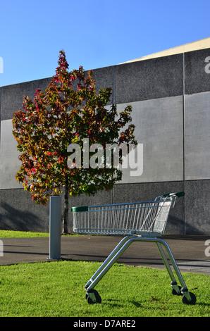 An empty shopping cart outside a shopping mall - Stock Photo