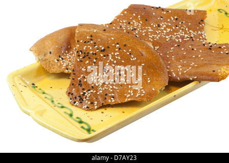 Traditional lavash flatbread sprinkled with sesame seeds - Stock Photo