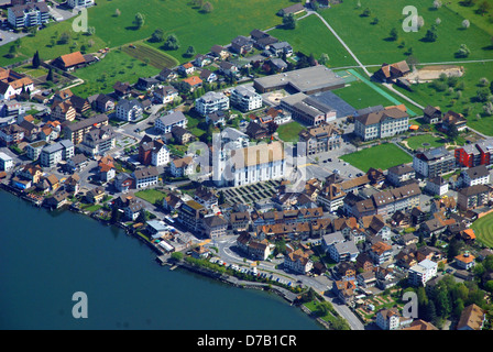 Arth, town on Lake Zug, in Switzerland - Stock Photo