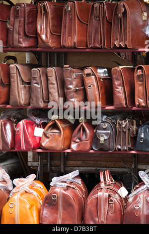 Leather Bags in Mercato Nuovo - New Market; Florence; Italy - Stock Photo