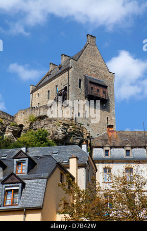 Burg Fels or Fiels Castle, Larochette, 11th century, Grand Duchy of Luxembourg, Europe - Stock Photo