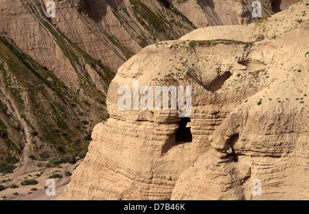 Qumran Caves Where The Dead Sea Scrolls Were Discovered - Stock Photo