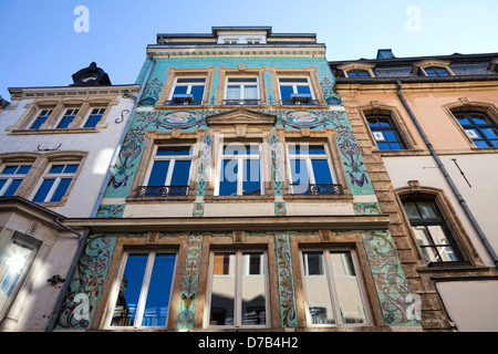 Restored art nouveau facade, Luxembourg City, Europe - Stock Photo