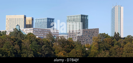 View of the EU buildings in the European quarter, Kirchberg-Plateau, Luxembourg City, Europe - Stock Photo