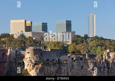 View of the EU buildings in the European quarter, Kirchberg-Plateau, Luxembourg City - Stock Photo
