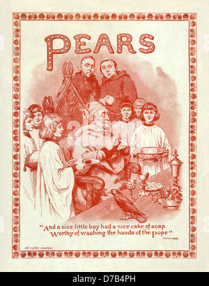 1910 advert for Pear's soap with an illustration of a rather odd religious scene implying that the Pope may well - Stock Photo