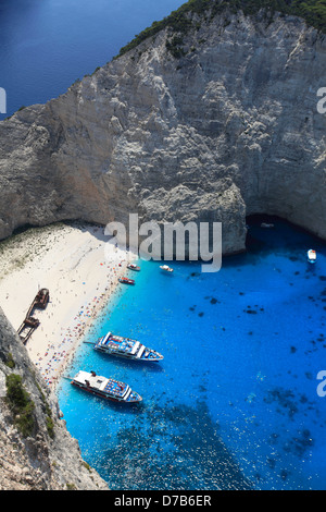 View of Navagio Beach also known as Shipwreck Cove or Smugglers bay, Zakynthos Island, Zante, Greece, Europe. - Stock Photo