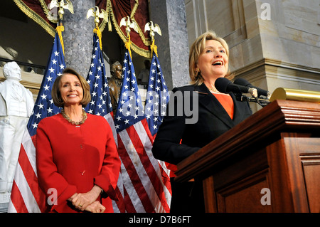 US Secretary of State Hillary Rodham Clinton with House Speaker Nancy Pelosi during the celebration of the 30th - Stock Photo