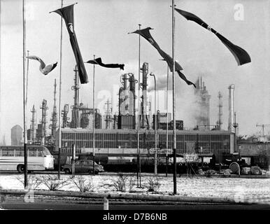 View of a part of the Farbwerke Hoechst on the 10th of January in 1963 on the occasion of the 100th jubilee of the company.