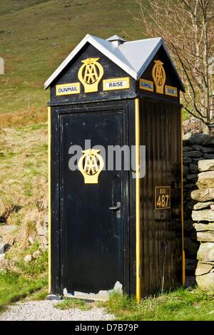 AA box emergency telephone car assistance rescue service on Dunmail Raise Cumbria Lake District Cumbria England - Stock Photo