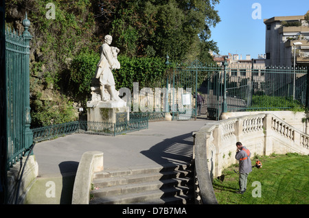 Pierre Puget Statue and Public Park or Garden Marseille France - Stock Photo