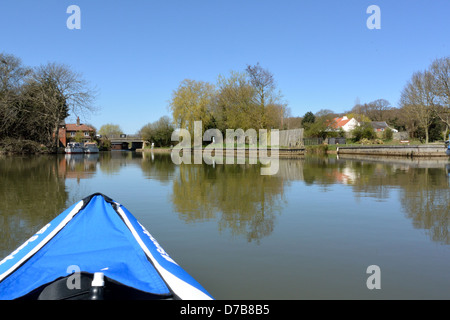 Wayford Bridge on the River Ant in Norfolk, seen from a Sevylor Colorado Premium inflatable canoe, Broads National - Stock Photo
