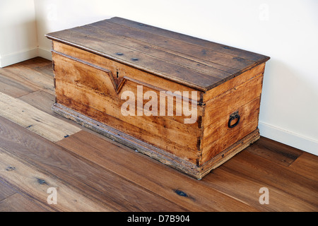 vintage wooden chest - Stock Photo