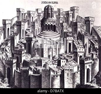 Facsimile of a wood engraving of Jerusalem, Made by Hartman Schedel in Nurenberg, on 1493 - Stock Photo