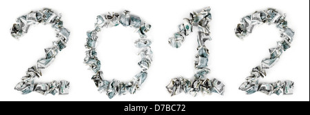 The number 2011 made out of crimpled 100$ bills, isolated on white background. - Stock Photo