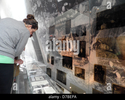 Visiting the Holocaust History Museum at Yad Vashem in Jerusalem - Stock Photo