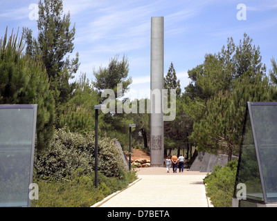 The pillar of Heroism at Yad Vashem Holocaust History Museum in Jerusalem - Stock Photo