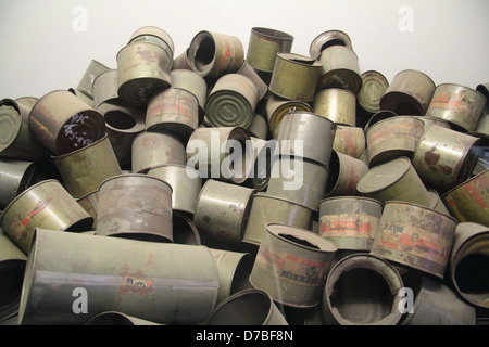 Empty poison gas canisters of Zyklon B that were used by Nazis to poison prisoners at extermination camps - Stock Photo