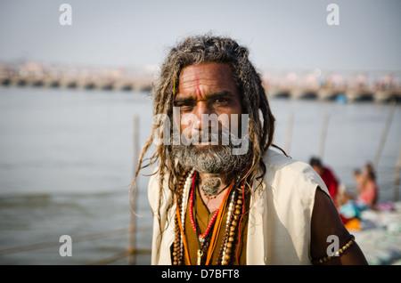ALLAHBAD, INDIA – 28 JANUARY: Baba (holy-man) at the Kumbh Mela religious festival on 28 January 2013 in Allahbad. - Stock Photo