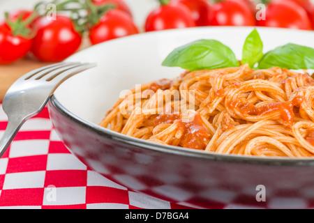 Spaghetti Bolognese - Italian pasta with bolognese sauce. - Stock Photo