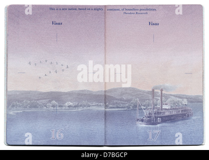 Tel-Aviv Israel - December 23rd 2010: Pages 16 17 new USA passport still blank bacgkround image clearly visible. - Stock Photo
