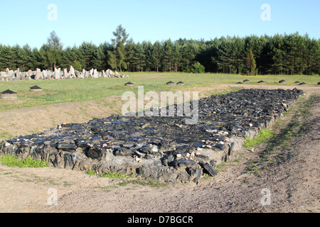 The cremation site at Treblinka extermination camp commemorating its holocaust victims - Stock Photo