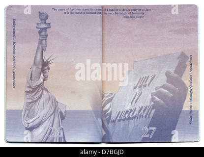 Tel-Aviv Israel - December 23rd 2010: Pages 26 27 new USA passport still blank bacgkround image clearly visible. - Stock Photo