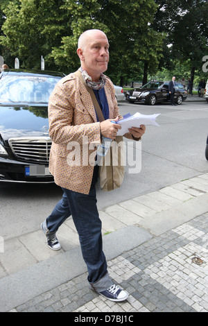 John Malkovich arrives at Rudolfinum to rehearse for his show 'Infernal Comedy' during the Prague Spring Festival - Stock Photo