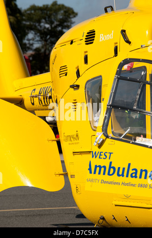 Yellow North West Air Ambulance Helicopter UK - Stock Photo