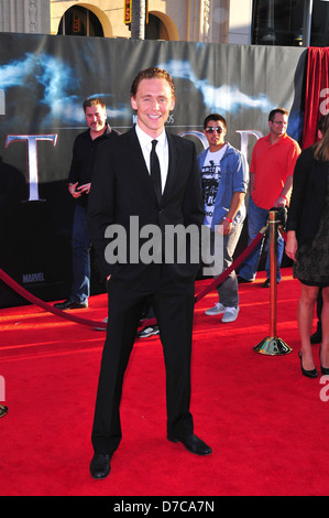 Tom Hiddleston Los Angeles Premiere of 'Thor' held at the El Capitan theatre- Arrivals Hollywood, California - 02.05.11 - Stock Photo
