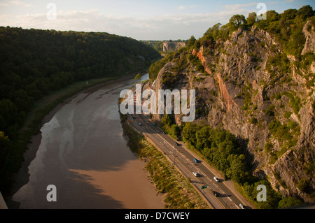 View from the Clifton Suspension Bridge in Bristol, designed by Isambard Kingdom Brunel. - Stock Photo