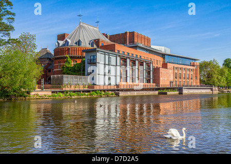 The Royal Shakespeare Theatre, home of the Royal Shakespeare Company, reflecting in the River Avon... - Stock Photo