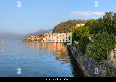 Beautiful view on small town on the shores of Lake Como in Northern Italy. - Stock Photo