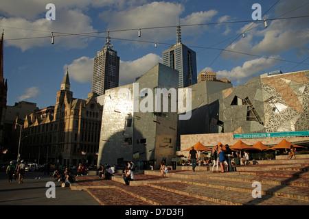 Architecture on Federation Square in Melbourne, Victoria, Australia - Stock Photo
