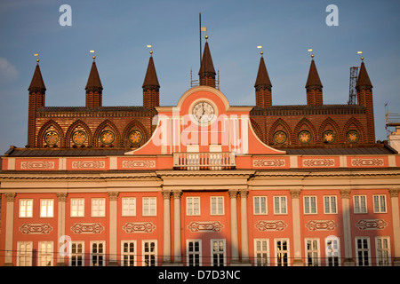 facade of the town hall, Rostock, Mecklenburg-Vorpommern, Germany - Stock Photo