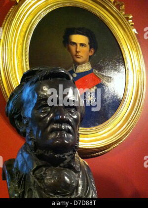 Bust of Richard Wagner stands in front of a portrait of King Ludwig II in Munich, Germany, 02 May 2013. The King - Stock Photo