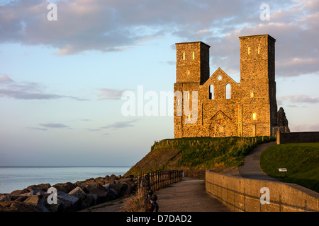 Reculver Towers Herne Bay Kent England at Sunset - Stock Photo