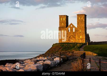 Reculver Towers Herne Bay Kent England at Sunset - Stock Photo