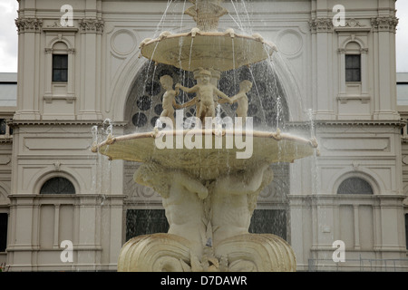 fountain in front of the Royal Exhibition Building, UNESCO world heritage in Melbourne, Victoria, Australia - Stock Photo