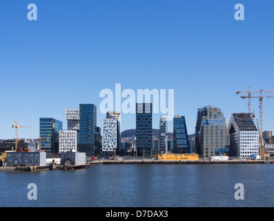 The barcode, a new office district in central Oslo Norway , interesting and varied facades new skyline - Stock Photo