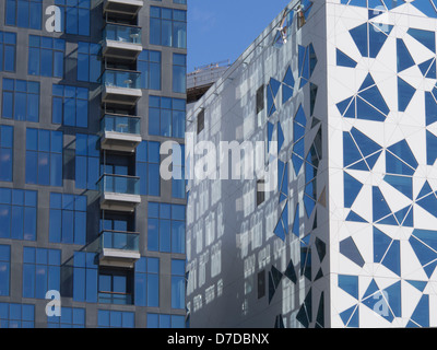 The barcode, new business district in central Oslo Norway , facade of  building by the Snøhetta architects (right) - Stock Photo