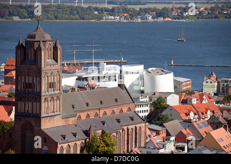 view over the historic centre of Stralsund with Saint James's Church, Ozeaneum and Ruegen island, Hanseatic City - Stock Photo