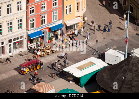 street cafe and new market seen from above, Hanseatic City of Stralsund, Mecklenburg-Vorpommern, Germany - Stock Photo