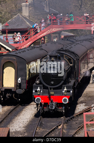 1940s Class B locomotive 61264 Class. Trains on the 40th anniversary of the North Yorkshire Moors Railway, Grosmont, - Stock Photo