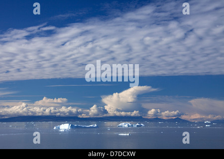 Icebergs in the Kangia icefjord, Disko-Bay, West-Greenland, Greenland - Stock Photo