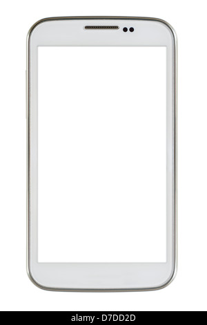 White smart phone on white background - Stock Photo