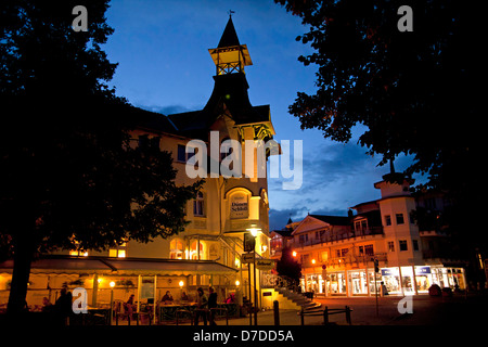 special historist style Architecture Baederarchitektur of Hotel Duenen Schloss in the seaside resort Zinnowitz, - Stock Photo