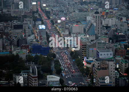 main street in South Koreas Capital Seoul, Asia - Stock Photo